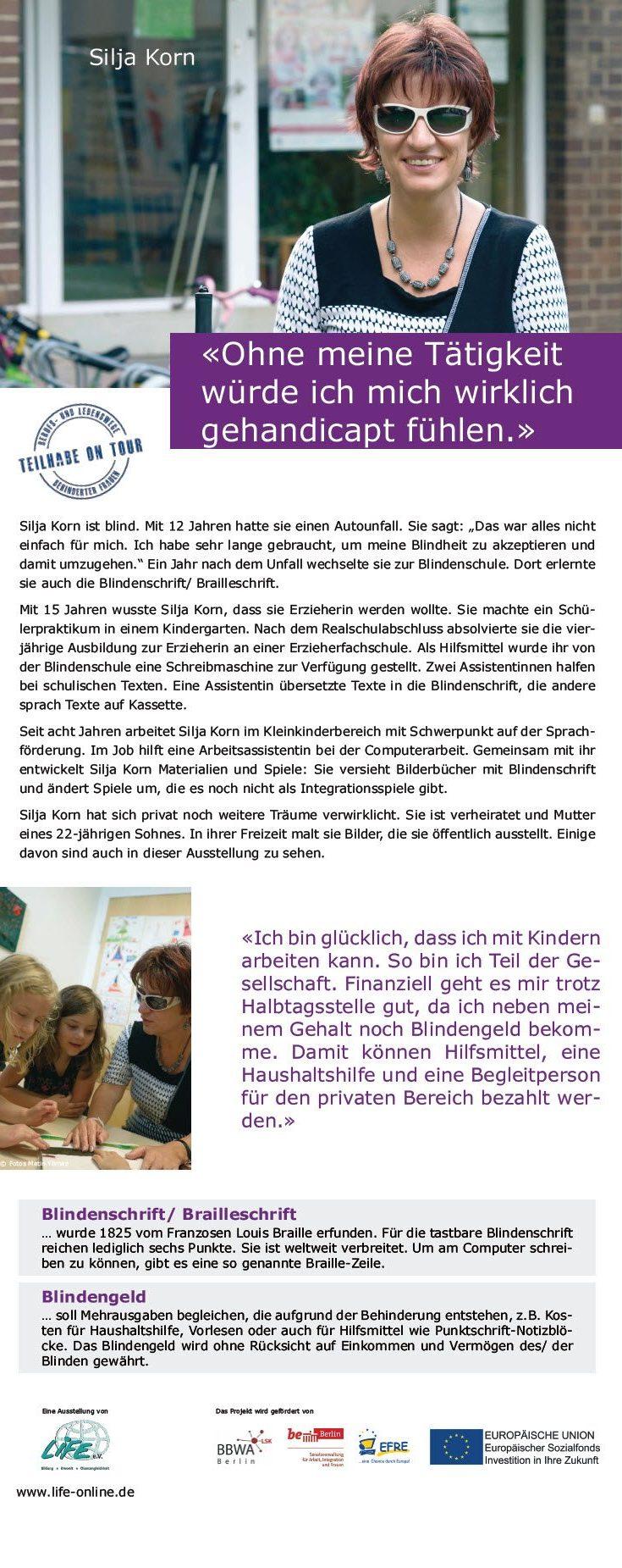 """Roll-Up Silja Korn, blinde Erzieherin und Künstlerin, Wanderausstellung """"Teilhabe on Tour - Berufs- und Lebenswege von Frauen mit Behinderung"""""""