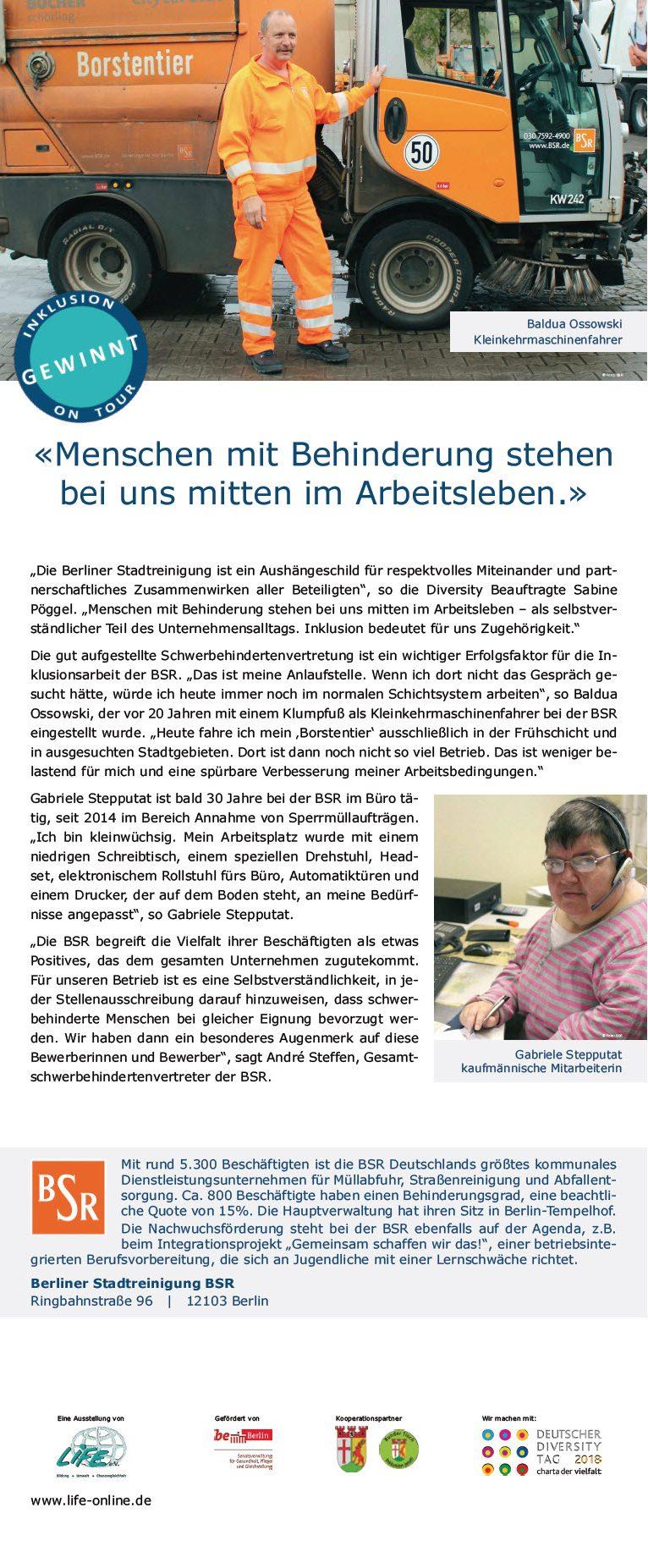 """Roll-Up Unternehmensportrait Berliner Stadtreinigung BSR, Wanderausstellung """"Inklusion gewinnt! On Tour"""""""